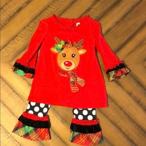 Rare Too Rudolph Christmas Outfit 2T